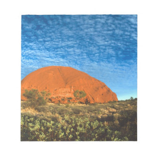 Red Glow of the Famous Ayers Rock in the Outback Notepad