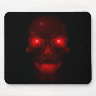Red Glowing Skull Mouse Pad