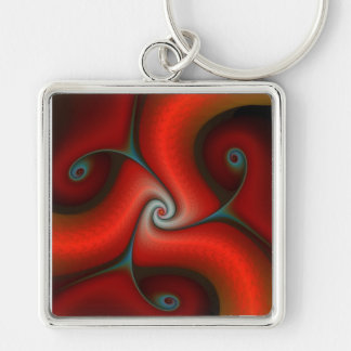Red gnarlie Silver-Colored square key ring