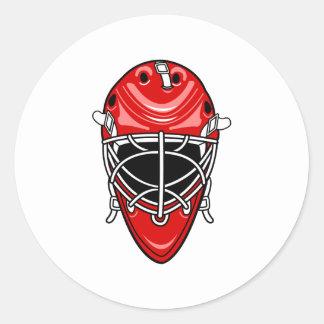 Red Goalie Helmet Round Sticker