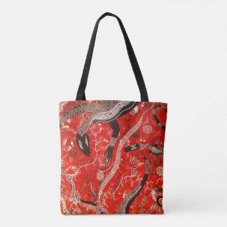 Red Goanna Dreaming Tote Bag