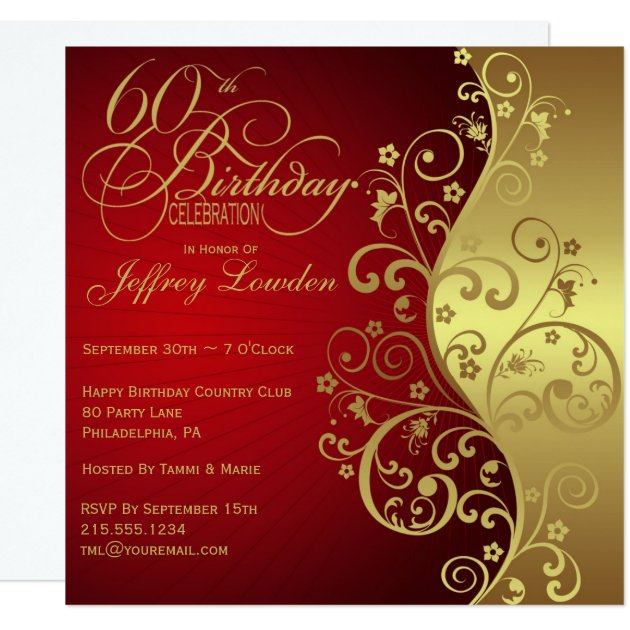 Red & Gold 60th Birthday Party Invitation   Zazzle