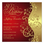 Red &  Gold 80th Birthday Party Invitation