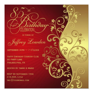 Red &  Gold 85th Birthday Party Invitation