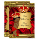 Red Gold African American Prince Baby Shower Card