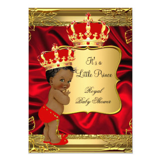 Red Gold African American Prince Baby Shower 13 Cm X 18 Cm Invitation Card