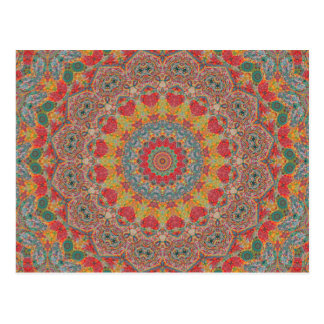 Red, Gold, and Blue Metametta Mandala III Postcard