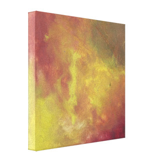 Red Gold and Green Abstract Oil Painting Stretched Canvas Print