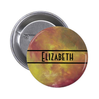 Red Gold and Green Abstract Personalized 6 Cm Round Badge