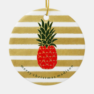 Red Gold and Green Christmas Tropical Pineapple Round Ceramic Decoration