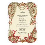 Red Gold and Lime Vintage Paisley Damask Wedding Custom Announcements