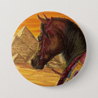 Red & Gold Arabian horse round button
