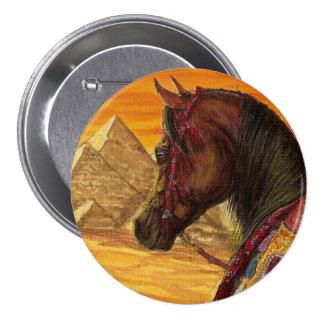 Red & Gold Arabian horse round button