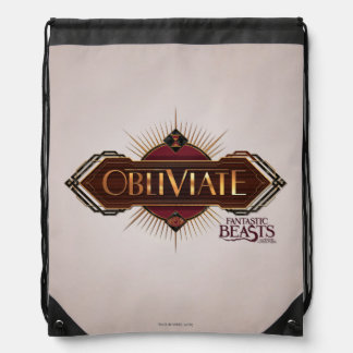 Red & Gold Art Deco Obliviate Spell Graphic Drawstring Bag