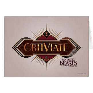 Red & Gold Art Deco Obliviate Spell Graphic Greeting Card