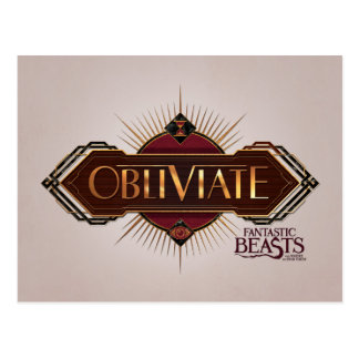 Red & Gold Art Deco Obliviate Spell Graphic Postcard