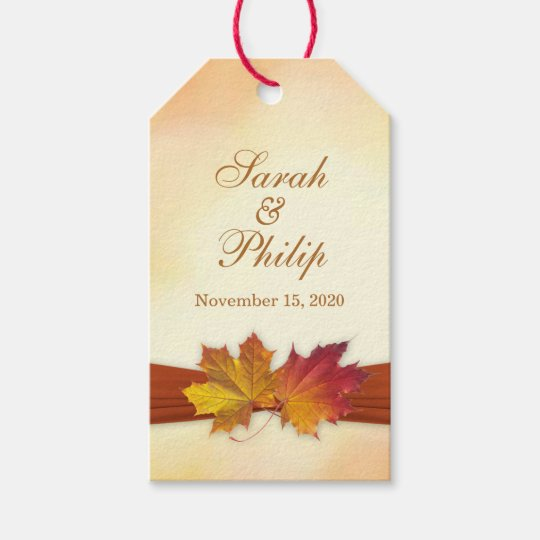 Wedding Thank You Gift Tags: Red, Gold Autumn Leaves Wedding Thank You Gift Tag