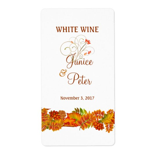 Red Gold autumn leaves Wedding Wine Label