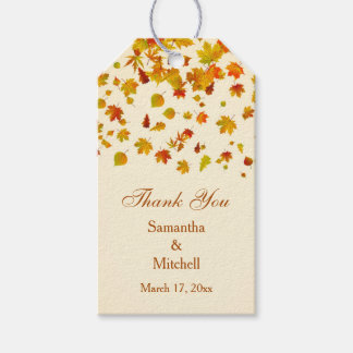 Red & gold autumn maple leaves Wedding Thank you Gift Tags