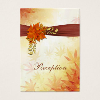 Red & gold Autumnal leaves Wedding Reception Card