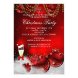 Red Gold Baubles Champagne Christmas Party 13 Cm X 18 Cm Invitation Card