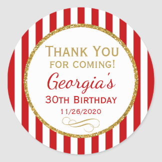 Red Gold Birthday Thank You For Coming Favor Tags