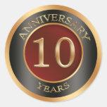 Red, gold, black 10th Wedding Anniversary Sticker