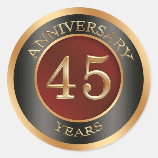 Red, gold, black 45th Wedding Anniversary Sticker