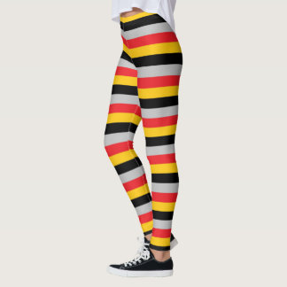 Red, Gold, Black and Silver Stripes Leggings