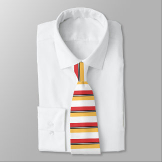 Red Gold Black and White Horizontally-Striped Tie