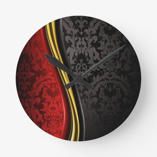 RED GOLD & BLACK BAROQUE PATTERN WALL CLOCK