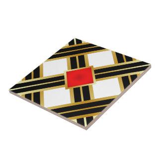 Red Gold Black Criss Cross Pattern Tile