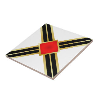 Red Gold Black Criss Cross Tile