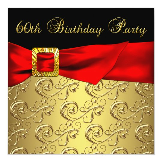 Red Gold Black Damask Womans 60th Birthday Party Invitation