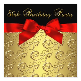 Red Gold Black Damask Womans 80th Birthday Party 13 Cm X 13 Cm Square Invitation Card