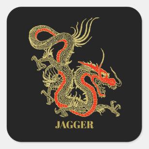 Red Gold Black Fantasy Chinese Dragon Square Sticker
