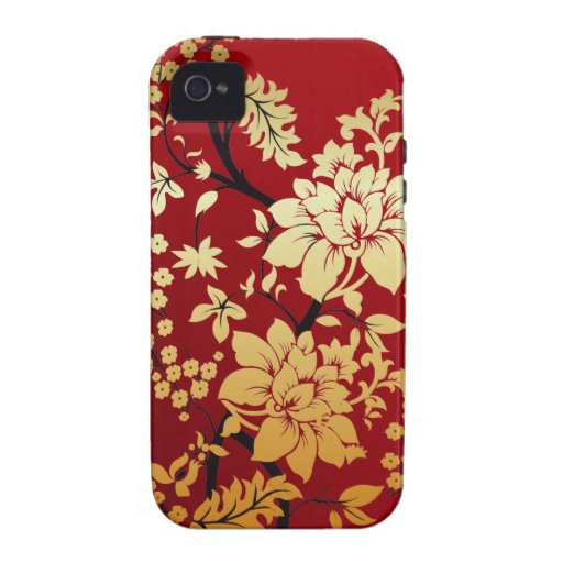 Red, Gold & Black Floral Oriental style iPhone 4/4S Cover