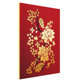 Red , Gold & Black Floral Oriental style Wrapped Canvas Print