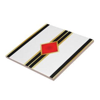 Red Gold Black Stripes Tile