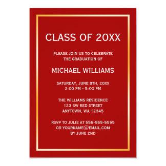 "Red Gold Border Graduation Announcement 5"" X 7"" Invitation Card"
