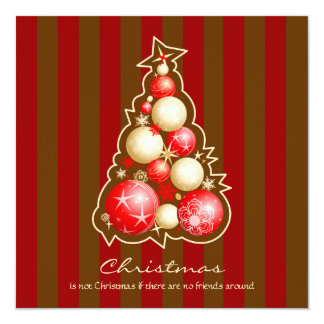 Red & Gold Bubbles Christmas Tree 13 Cm X 13 Cm Square Invitation Card