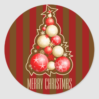Red & Gold Bubbles Christmas Tree Classic Round Sticker