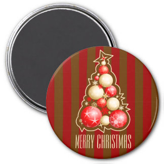 Red & Gold Bubbles Christmas Tree Magnet