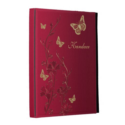 Red, Gold Butterfly Floral iPad (1,2,3) Folio iPad Folio Cover