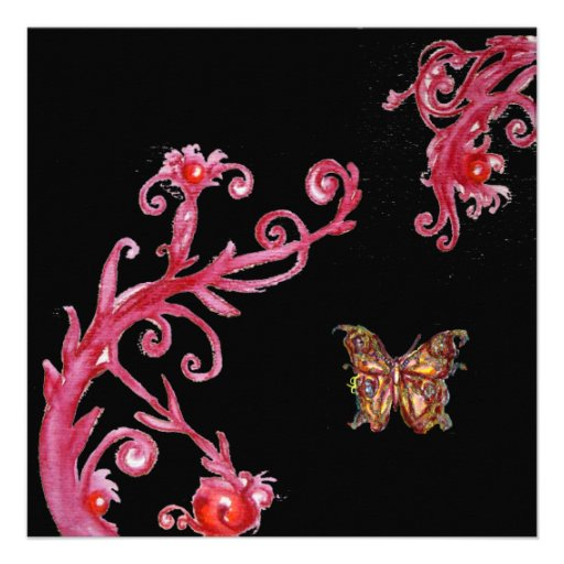 RED GOLD BUTTERFLY IN BLACK ,Elegant Wedding Party Announcements