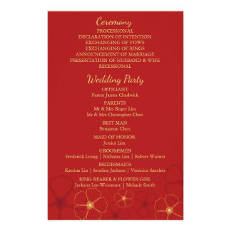 Red & Gold Cherry Blossoms Wedding Program Card 14 Cm X 21.5 Cm Flyer