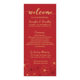 Red & Gold Cherry Blossoms Wedding Program Card Rack Card Design