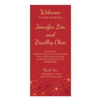 Red & Gold Cherry Blossoms Wedding Reception Menu 10 Cm X 23 Cm Rack Card