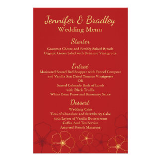 Red & Gold Cherry Blossoms Wedding Reception Menu 14 Cm X 21.5 Cm Flyer