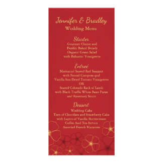 Red & Gold Cherry Blossoms Wedding Reception Menu Full Color Rack Card